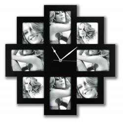 Foto-Uhr schwarz 4x 10x15