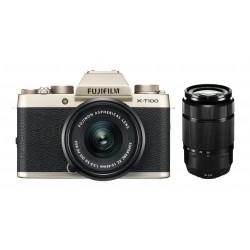 Fuji X-T100 gold + XC 15-45mm +50-230mm